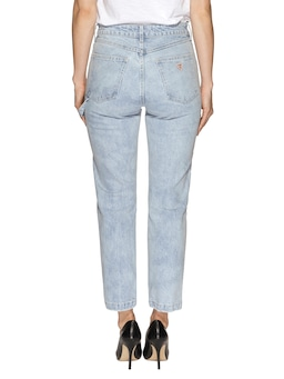 Guess High Rise Straight Carpenter Jean In Lightwave Blue