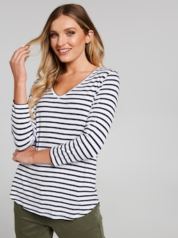 Luxe V-Neck Long Sleeve Tee