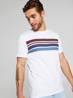 Short Sleeve Bf Chest Stripe Tee