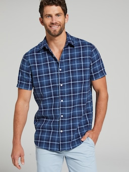 Short Sleeve Linen Tonal Check Shirt