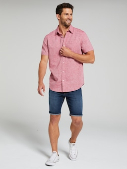 Short Sleeve Linen Texture Shirt