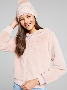 Girls Rose Teddy Fleece Hoody