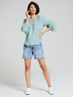 Demi Linen Blend Button Top