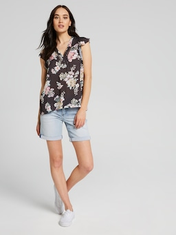 Justine Lace Insert Short Sleeve Top