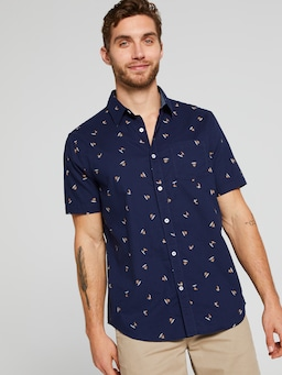 Short Sleeve Sw Light Oxford Print Shirt